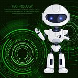 Technology Robot and Text Vector Illustration. Technology banner, white robot waving to us and text sample with letterings above, robotic creature and interface Stock Photography