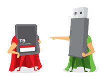 Technology battle between flash drive and memory card heroes Stock Image