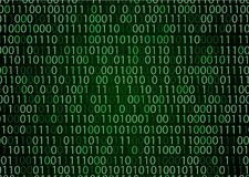 Technology binary background. Binary on green background Stock Images