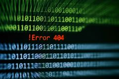 Technology binary code number data alert ! Error 404 message on display screen / Computer network system problem error software stock images