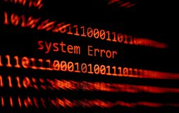 Technology binary code number data alert System Error message on display screen / Computer network problem error software royalty free stock photo