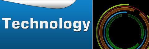 Technology Black Blue Banner. Banner Image with technology text and tech circle vector illustration