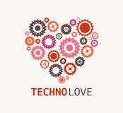 Technology blue heart with cogweels Royalty Free Stock Images