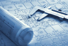 Technology blueprints. With beam compass Royalty Free Stock Photo