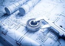 Technology blueprints. Bearing and trammel Stock Image