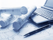 Technology blueprints. The part of architectural project Royalty Free Stock Photos