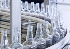 Technology bottling plant for bottles royalty free stock photography