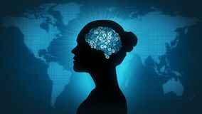 Technology brain - woman of the world. Female profile silhouette with gearwheel brain in front of Earth map Stock Image
