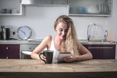 Technology at breakfast Royalty Free Stock Image