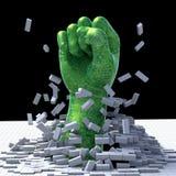 Technology Breakthrough. 3D illustration of robotic fistr breaking through the floor, symbolizing technological breakthrough Royalty Free Stock Photos