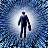 Technology Business. With a man and briefcase entering a binary code and a company in silicon valley or digital market selling computing electronics and data Royalty Free Stock Images