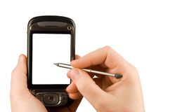 Technology business communication device. Cellular phone and camera isolated clipping paths Stock Photos
