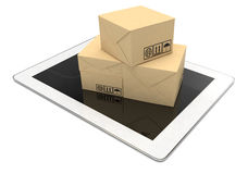 Technology business concept, shipping: cardboard Royalty Free Stock Images