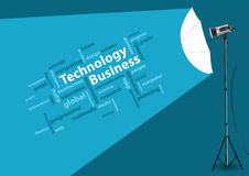 Technology business concept of word cloud, with cr Stock Photography