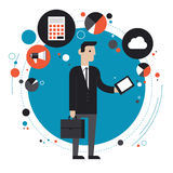 Technology of business flat illustration concept. Flat design style modern vector illustration concept of businessman in stylish suit using mobile phone or Stock Image