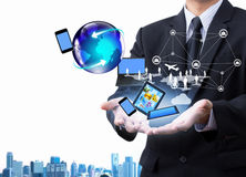 Technology in business hand. Technology in business man hand