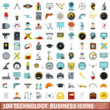 100 technology business icons set, flat style. 100 technology business icons set in flat style for any design vector illustration Vector Illustration