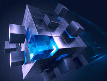 Technology business internet and communication concept - cube assembling from blocks. 3d render stock illustration