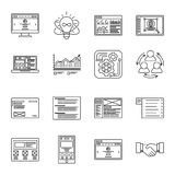 Technology and business thin line icons set. Symbols for management, finance, computers and internet. Royalty Free Illustration