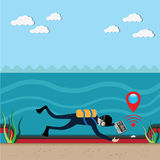 Technology camera,real time watching pipeline below water. Tell to the administrator, has broken  - vector Royalty Free Stock Photography