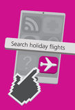 Technology Cell Phone Icons with Holiday Flights App Illustration. Other icons can be edited with Adobe Illustrator Royalty Free Stock Photography