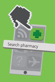Technology Cell Phone Icons with Pharmacy Cross Illustration Stock Photo