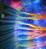 Technology center with fiber optic Stock Photo