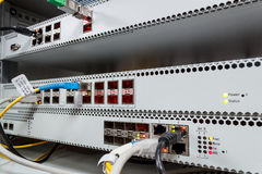 Technology center with fiber optic PON equipment Royalty Free Stock Photos
