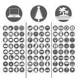 Technology, Christmas and Summer Icon set vector illustration Royalty Free Stock Photos