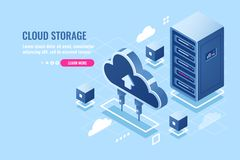 Technology of cloud data storage, server room rack, database and data center isometric icon, abstract concept, download. And upload file in internet repository stock illustration