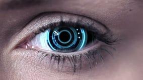Technology code design in human eye. Digital animation of Technology code design in human eye stock footage