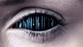 Technology code design in human eye stock footage