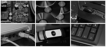 Technology collage. Technology and computer theme collection or collage royalty free stock image