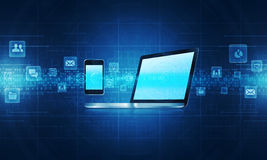 Technology communication background conceptg. Media  Technology Objects  Electronics Telecommunications Stock Photo