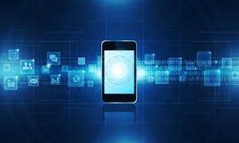 Technology communication background. Media technology Electronics  Mobile Phone Connecting background concept Stock Photos