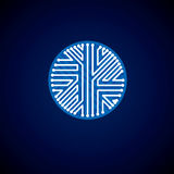 Technology communication blue cybernetic element. Vector abstrac. T illustration of circuit board in the shape of circle Stock Photo