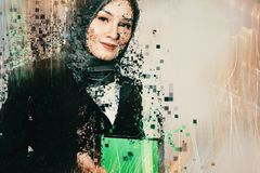 Technology and communication concept, young business woman with stock image