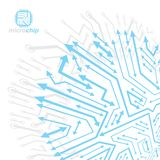 Technology communication cybernetic element with arrows. Vector abstract illustration of circuit board. Modern innovation. Technologies backdrop royalty free illustration