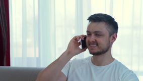 Technology communication friendly call man talking. Technology communication. friendly call on mobile phone. adult caucasian man talking on his smartphone stock video