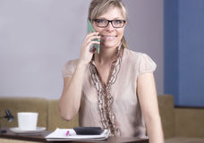 Technology, communication - happy young woman calling on smartph Stock Photo