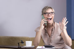 Technology, communication - happy young woman calling on smartphone and laughing at home Stock Photo