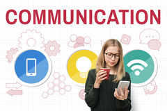 Technology Communication Icons Symbols Concept Stock Photography