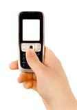 Technology communication phone. A technology cellular phone holding in a human hand Stock Photography