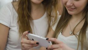 Technology communication phone apps social network. Technology communication. mobile phone apps. modern gadgets. digital device addiction. young teenage girls stock video footage