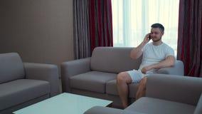 Technology communication phone call man talking. Technology communication. mobile phone call. modern gadgets. digital device addiction. adult caucasian man stock video