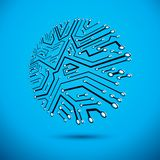 Technology communication round element. Vector abstract illustration of circuit board stock illustration