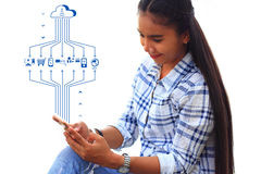 Technology communications and data transfer. Women with technology communications and data transfer stock image