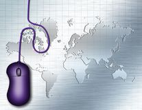 Technology. Composition. PC mouse and world map at the background. 3D rendering Royalty Free Stock Photo