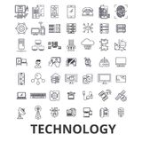 Technology, computer, it, innovation, science, information, cloud network line icons. Editable strokes. Flat design Royalty Free Stock Photos