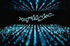 Technology, computing and finance concept. Creative glowing binary code background with business chart. Technology, computing and finance concept. 3D Rendering Royalty Free Stock Image